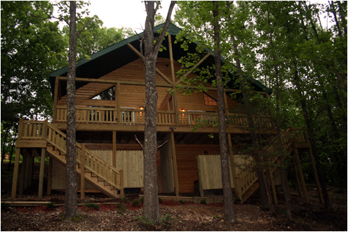 View of the Back Of Wilderness Cabins Private Hot Tubs